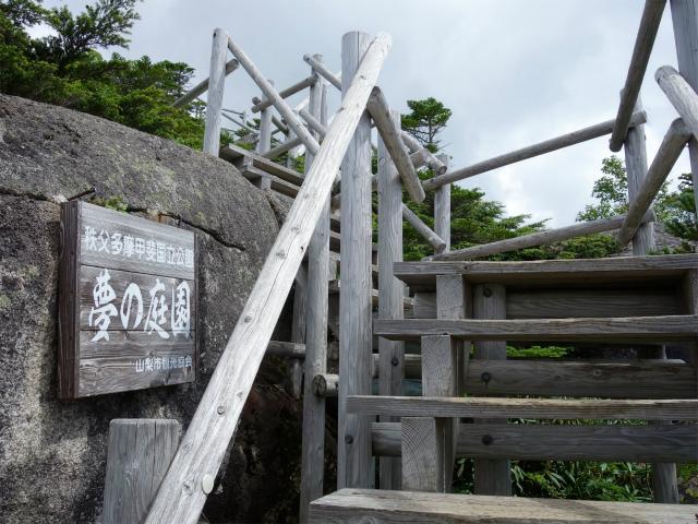 国師ヶ岳・北奥千丈岳(大弛峠~夢の庭園) 登山口コースガイド 夢の庭園階段【登山口ナビ】