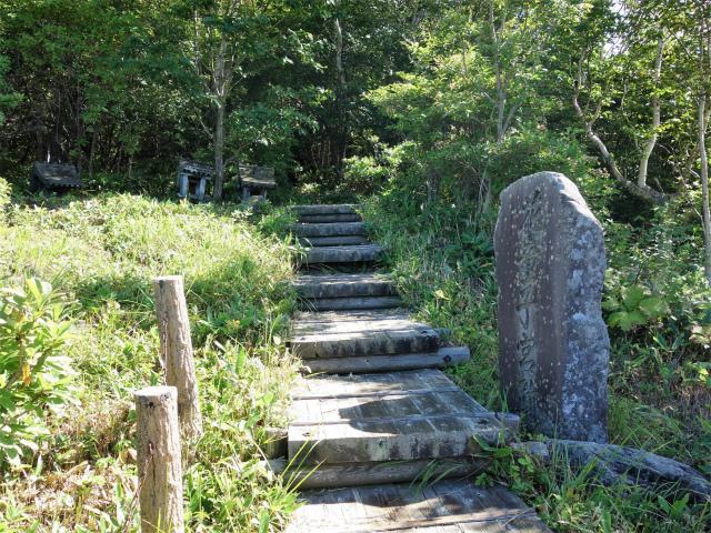 四阿山(鳥居林道口~上州古道)登山口コースガイド 華童子の宮跡 石碑【登山口ナビ】