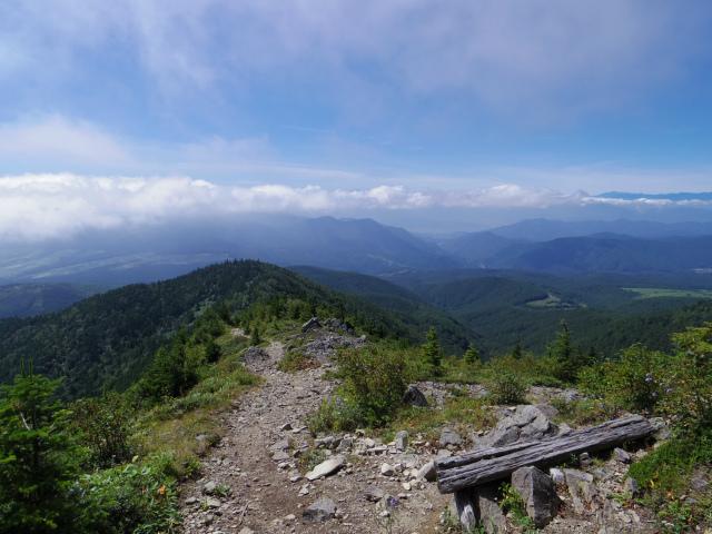 四阿山(鳥居林道口~上州古道)登山口コースガイド 手前のピーク上部からの展望【登山口ナビ】