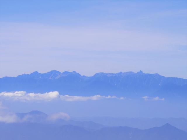 四阿山(鳥居林道口~上州古道)登山口コースガイド 四阿山山頂からの中央アルプス【登山口ナビ】