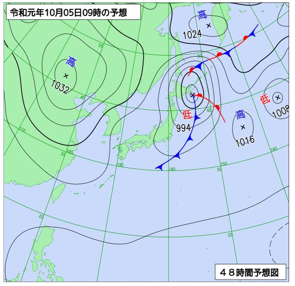 2019年10月5日の予想天気図【登山口ナビ】