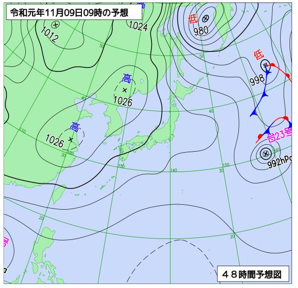 2019年11月9日の予想天気図【登山口ナビ】