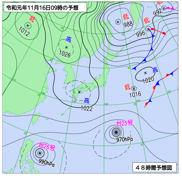 2019年11月16日の予想天気図【登山口ナビ】