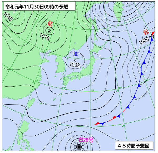 2019年11月30日の予想天気図【登山口ナビ】