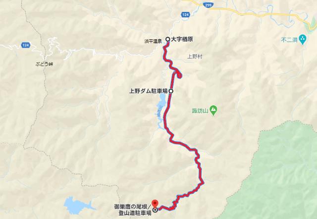【御巣鷹の尾根】上野村道2206号線(御巣鷹線)の通行止地図【登山口ナビ】