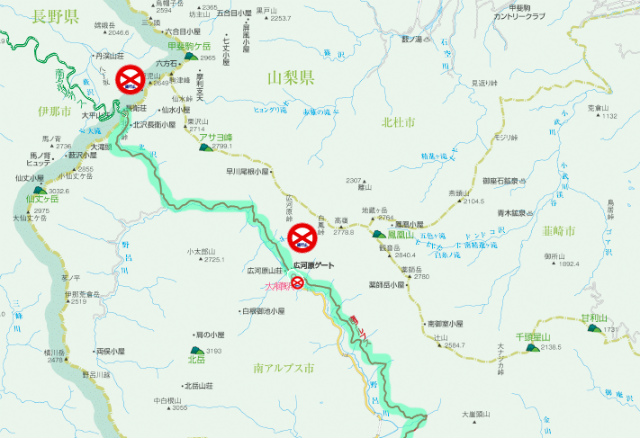【北沢峠】南アルプス林道の通行止地図【登山口ナビ】