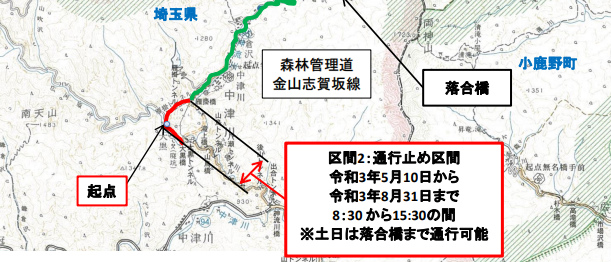 【両神山】雁掛トンネルの通行止地図【登山口ナビ】