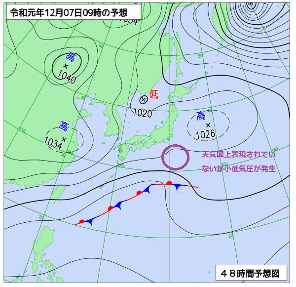 2019年12月7日の予想天気図【登山口ナビ】