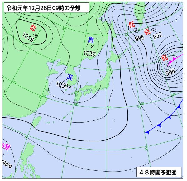 2019年12月28日の予想天気図【登山口ナビ】