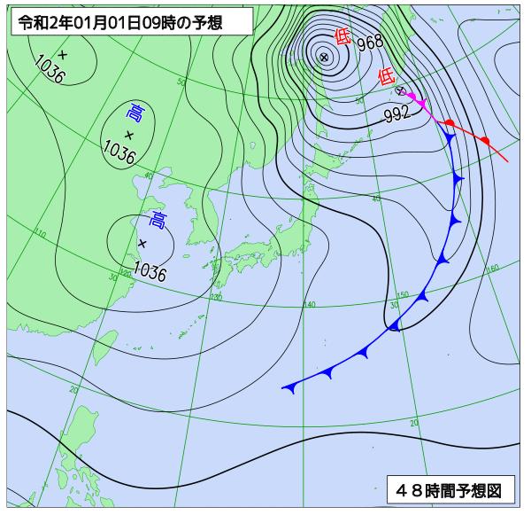 2020年1月1日午前9時の予想天気図【登山口ナビ】