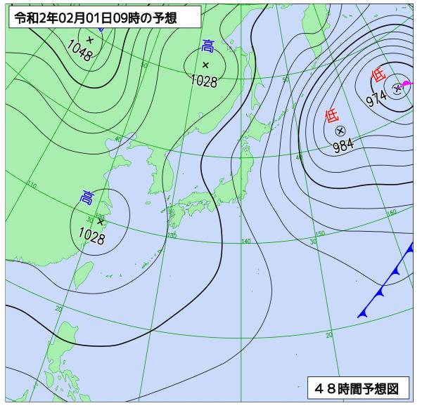 2020年2月1日(土)午前9時の予想天気図【登山口ナビ】