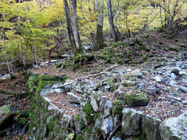 三頭山(サイグチ沢コース)登山口コースガイド 石積みの堰堤【登山口ナビ】