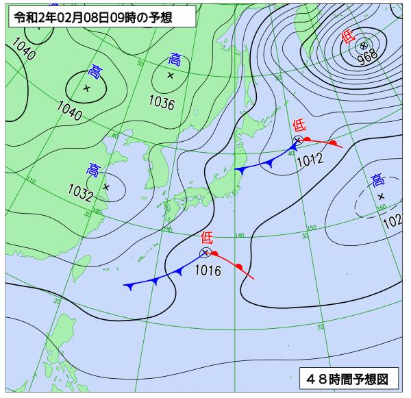 2020年2月8日(土)午前9時の予想天気図【登山口ナビ】