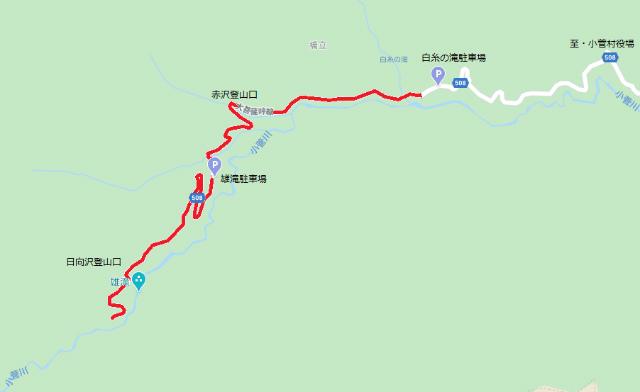 【小菅大菩薩道】小菅林道の通行規制地図【登山口ナビ】