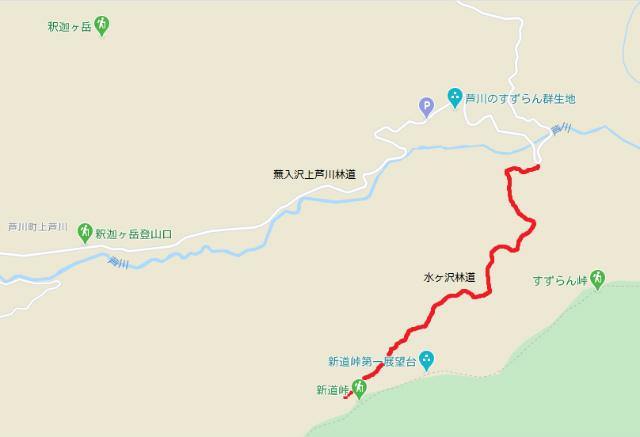 【新道峠】水ヶ沢林道の通行規制地図【登山口ナビ】