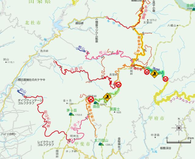 観音峠大野山林道の通行止区間地図【登山口ナビ】