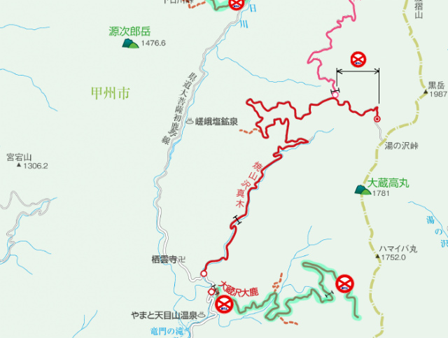 【湯ノ沢峠】焼山沢真木林道の通行止の通行止地図【登山口ナビ】