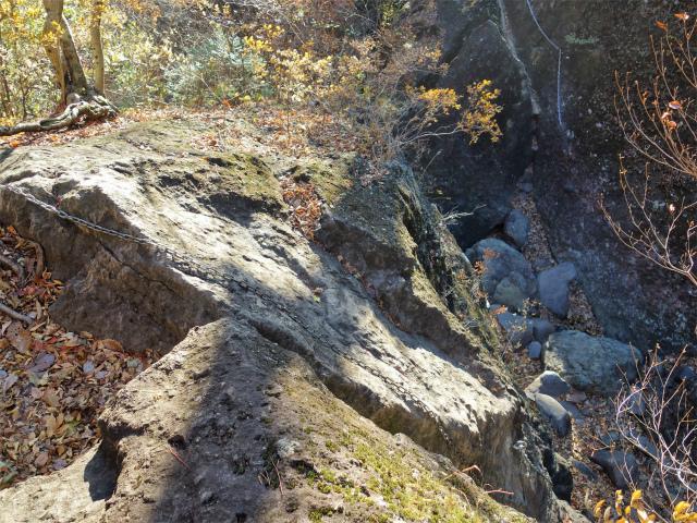 裏妙義・丁須の頭(籠沢コース~三方境周回)登山口コースガイド 二段8mの鎖場上部【登山口ナビ】