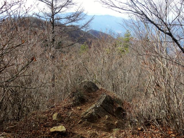 今倉山・高岩(道坂峠~パラジマ沢コース)登山口コースガイド 西峰山頂直下の露岩【登山口ナビ】