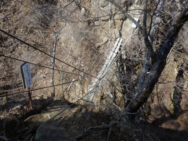 鬼ヶ岳(淵坂峠~毛無山~十二ヶ岳)登山口コースガイド 吊橋【登山口ナビ】