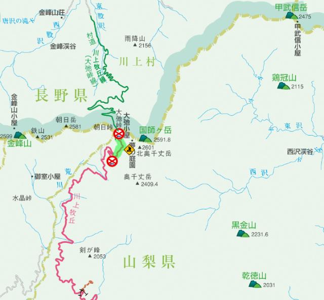 【大弛峠】川上牧丘林道の通行規制地図【登山口ナビ】